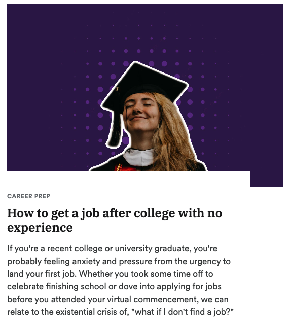 How to get a job after college with no experience blog post on Acadium